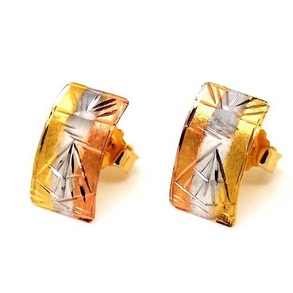 Brinco De Ouro 18k Mini Escravas Tricolor