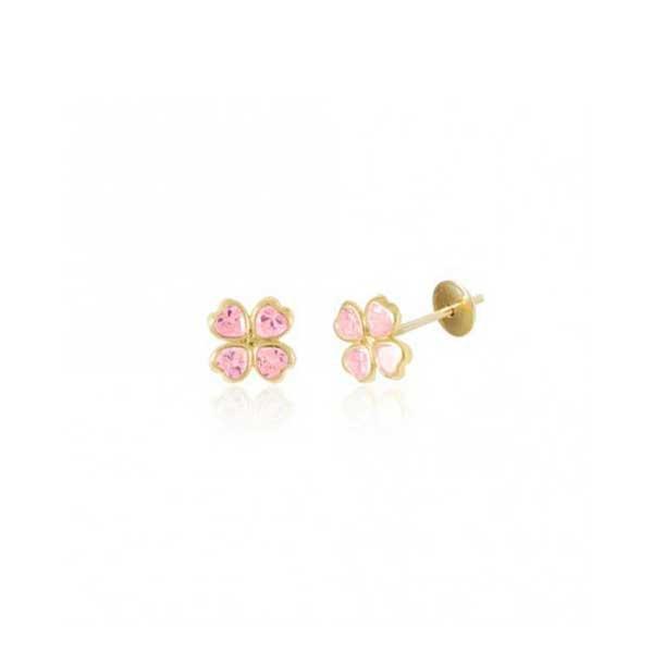 Brinco De Ouro 18k Trevo De Zircônias Rosas Com 9mm