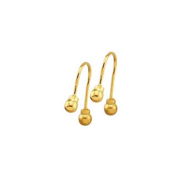 Brinco Infantil De Ouro 18k Anzol Com Bolinhas De 3mm