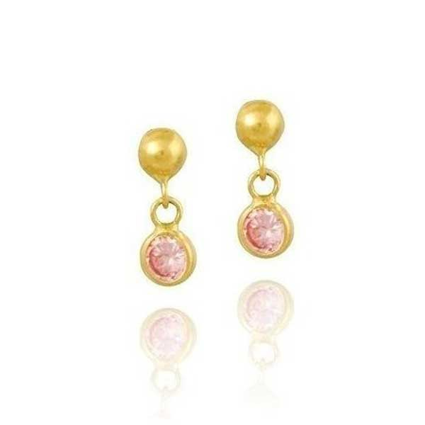 Brinco De Ouro 18k Bolinha Com Pedra De Zircônia Rosa De 3mm