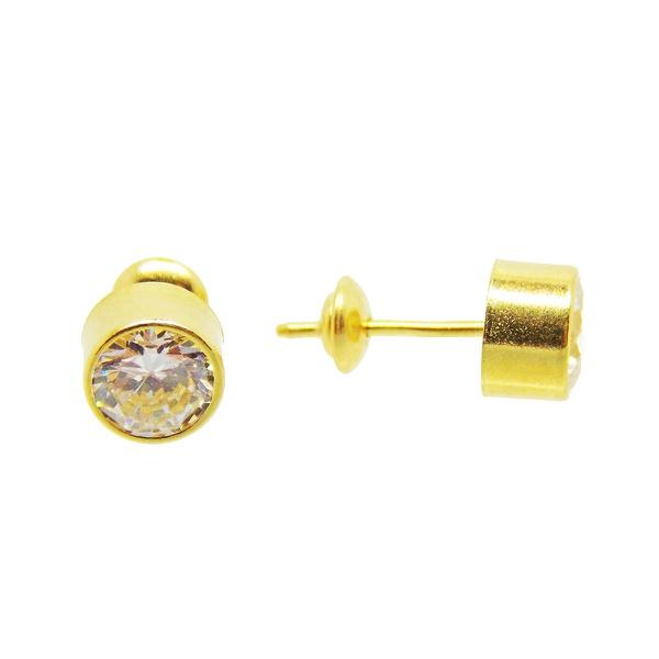 Brinco De Ouro 18k Ponto De Luz De 5mm