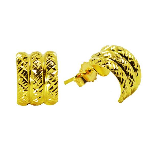 Brinco De Ouro 18k Meia Argola De 10mm