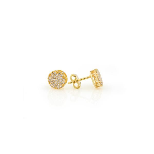 Brinco De Ouro 18k Chuveiro De Zircônias Com 6,6mm