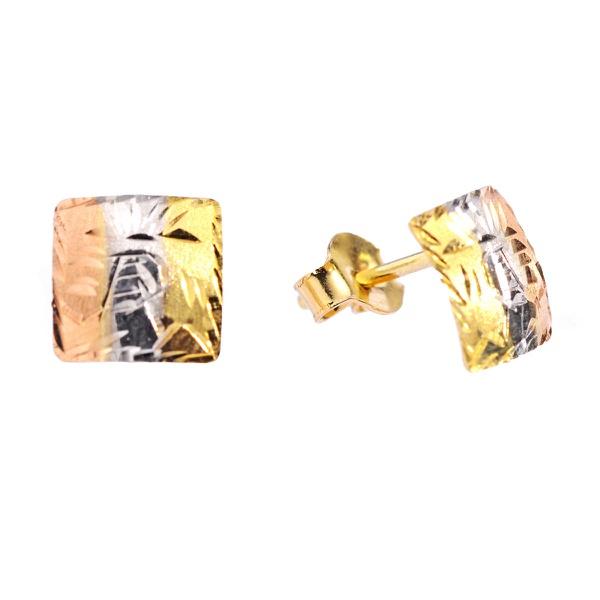 Brinco De Ouro 18k Escravas Quadrado Tricolor