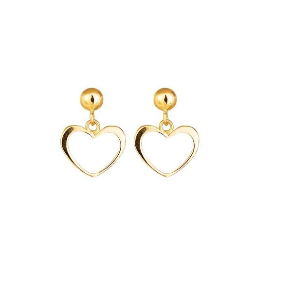 Brinco De Ouro 18k Bolinha Com Coração