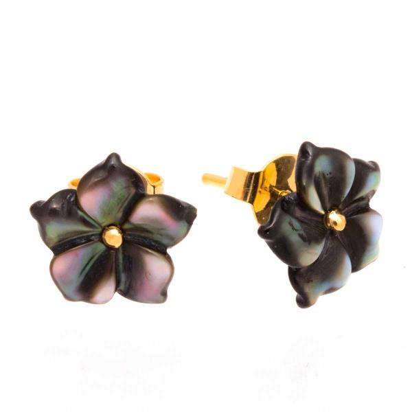 Brinco de Ouro 18K Flor de Madre Pérola Negra de 10mm