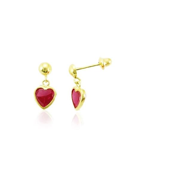 Brinco De Ouro 18k Com Pedra De Zircônia Vermelha Coração 4mm
