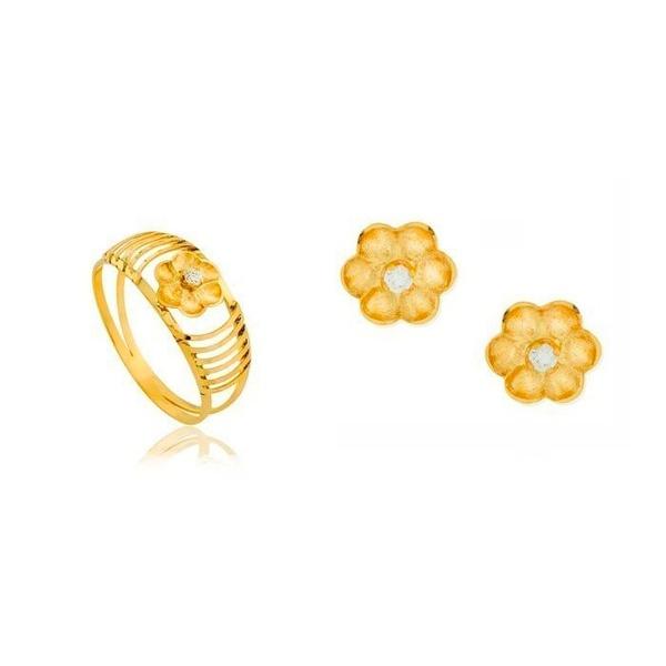 Conjunto Anel e Brinco De Ouro 18k Flor