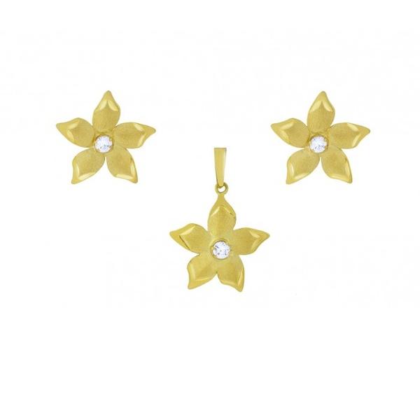 Conjunto De Ouro 18k Flor Com Zircônias