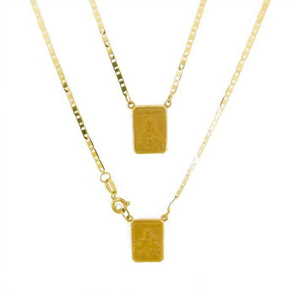 Escapulário De Ouro 18k Piastrine Com 60cm
