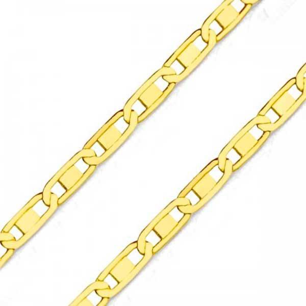 Corrente De Ouro 18k Piastrine Trabalhada De 2,6mm Com 60cm