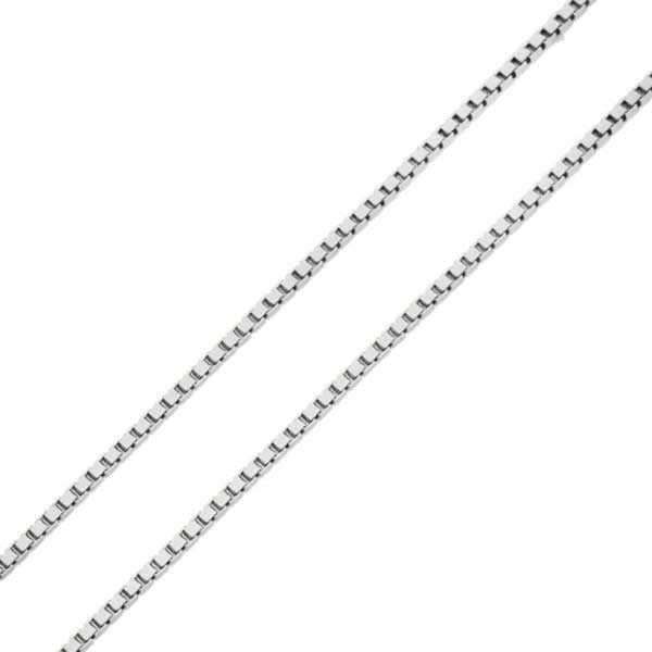 Corrente De Ouro Branco 18k Veneziana De 0,8mm Com 45cm