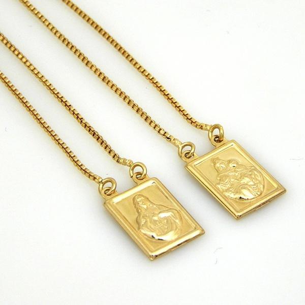 Escapulário De Ouro 18k Veneziana Com 60cm