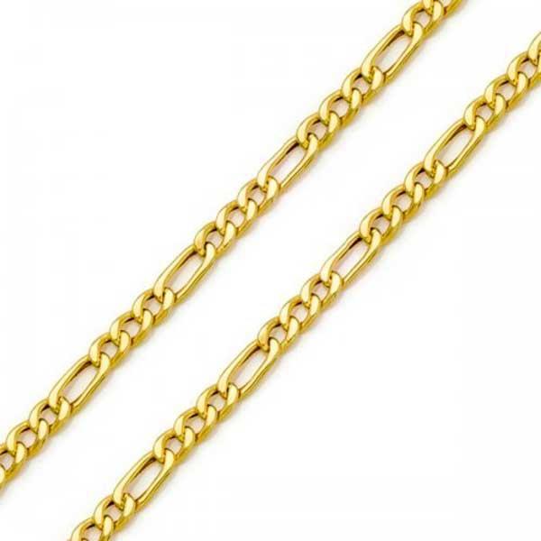 Corrente De Ouro 18k Groumet 3x1 De 3,8mm Com 70cm