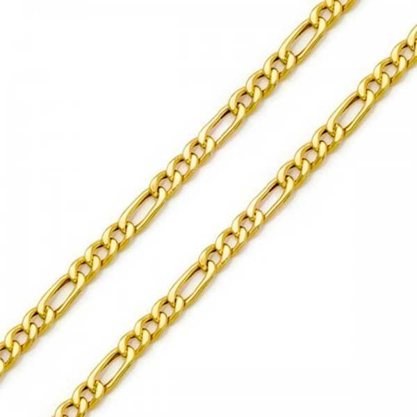 Corrente De Ouro 18k Groumet 3x1 De 6,3mm Com 50cm