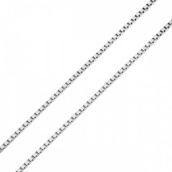 Corrente De Ouro Branco 18k Veneziana De 0,5mm Com 60cm