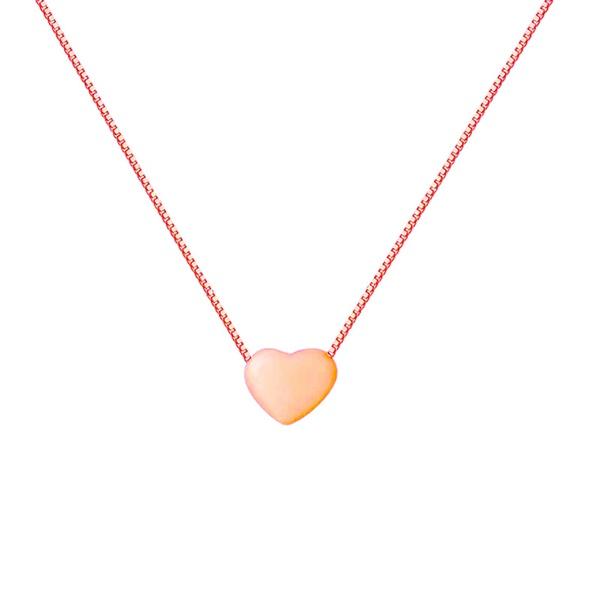 Corrente De Ouro Rose 18k Veneziana Com 45cm e Coração