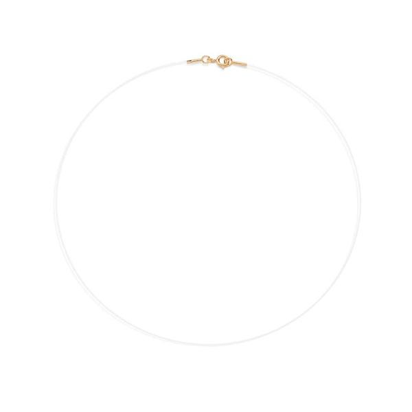Gargantilha De Ouro 18k Fio De Nylon Com 40cm