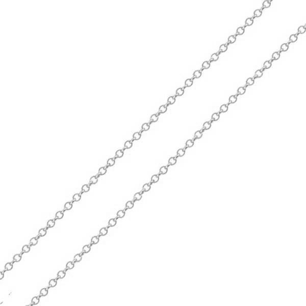Corrente De Ouro Branco 18k Elo Português De 1mm Com 60cm