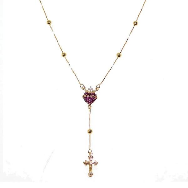 Gargantilha Meio Terço De Ouro 18k Com 45cm e Sagrado Coração De Jesus