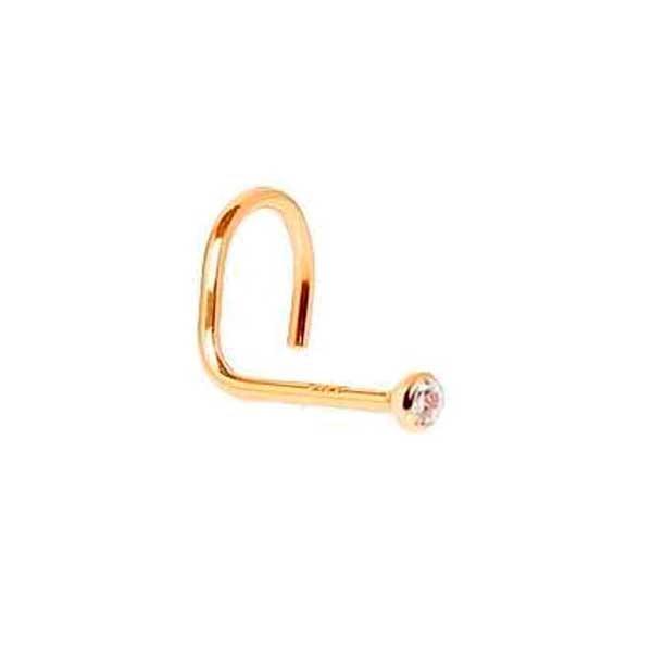 Piercing De Nariz De Ouro 18k Zircônia