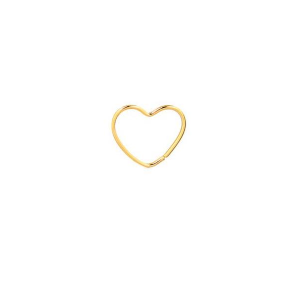 Piercing De Orelha, Nariz Ou Targus De Ouro 18k Coração
