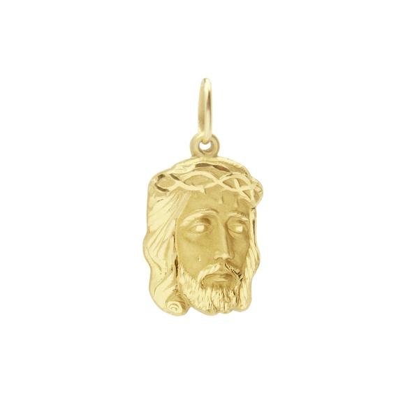 Pingente De Ouro 18k Face De Cristo De 17mm