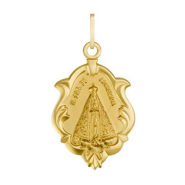 Pingente De Ouro 18k Medalha De Nossa Senhora Da Aparecida 22mm