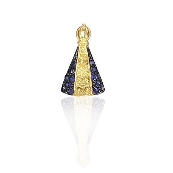 Pingente De Ouro 18k Nossa Senhora Da Aparecida Com Pedras