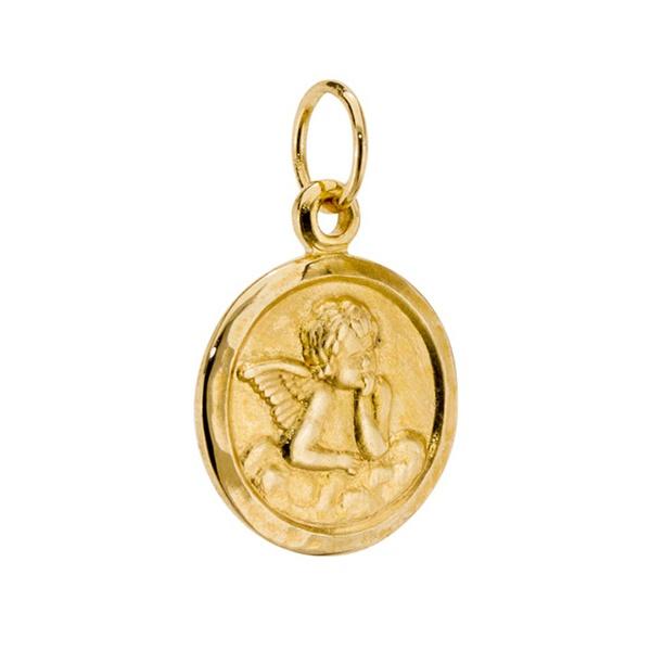 Pingente De Ouro 18k Anjinho Oval