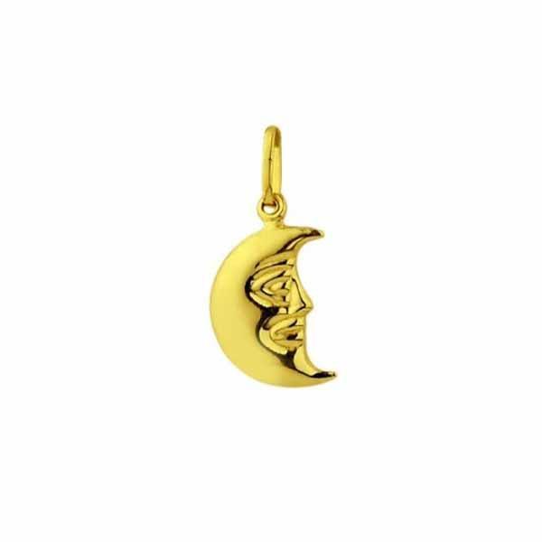 Pingente De Ouro 18k Meia Lua