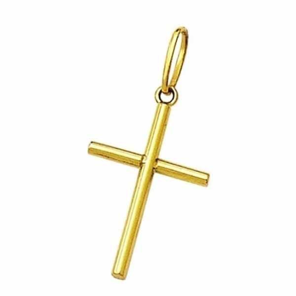 Pingente De Ouro 18k Cruz Palito De 18mm