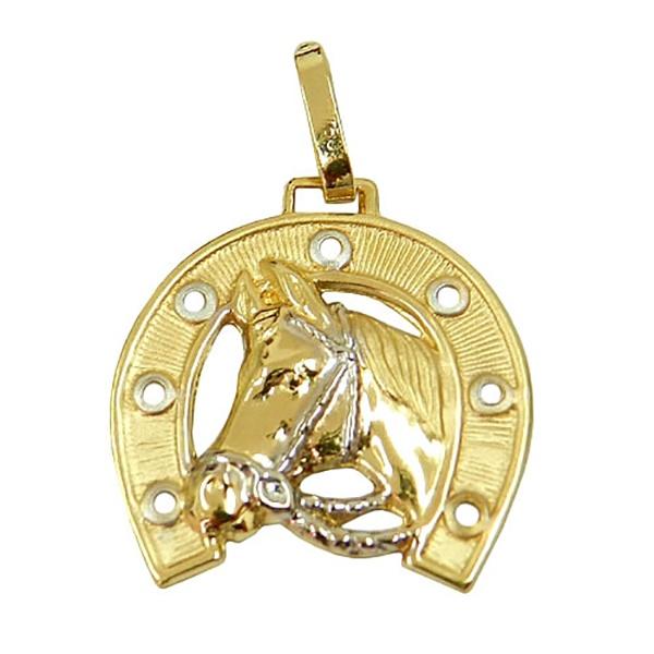 Pingente De Ouro 18k Cavalo Com Ferradura 22mm