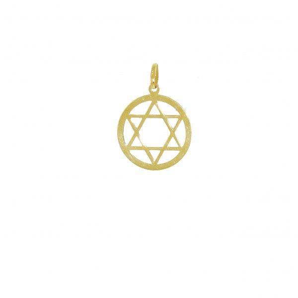 Pingente De Ouro 18k Estrela De Davi De 20mm