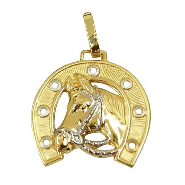 Pingente De Ouro 18k Cavalo Com Ferradura 28mm