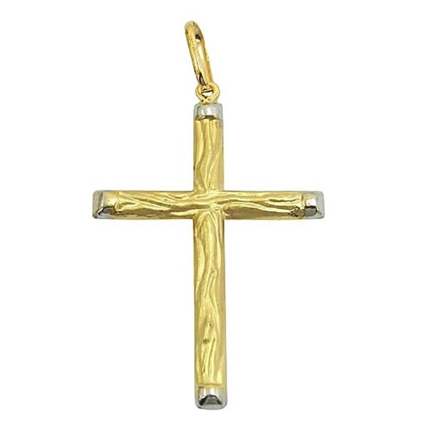 Pingente De Ouro 18k Cruz Estilo Madeira 45mm