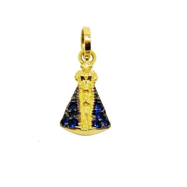 Pingente De Ouro 18k Nossa Senhora Da Aparecida Com Zircônias