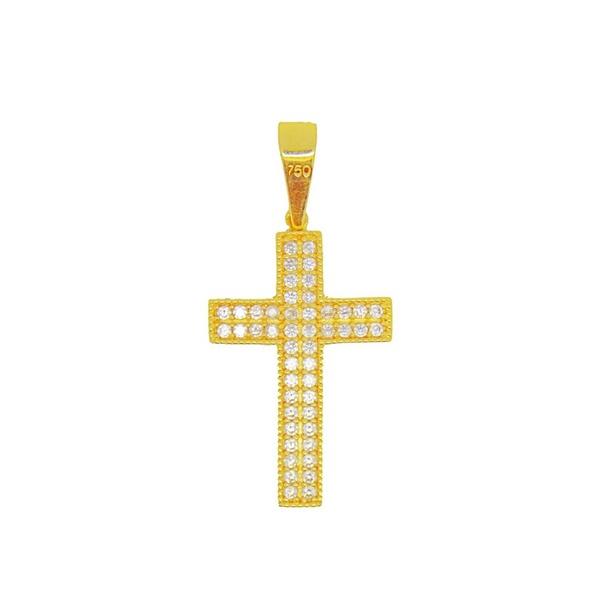 Pingente De Ouro 18k Cruz Com 27mm