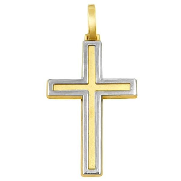Pingente De Ouro 18k Cruz De 30mm