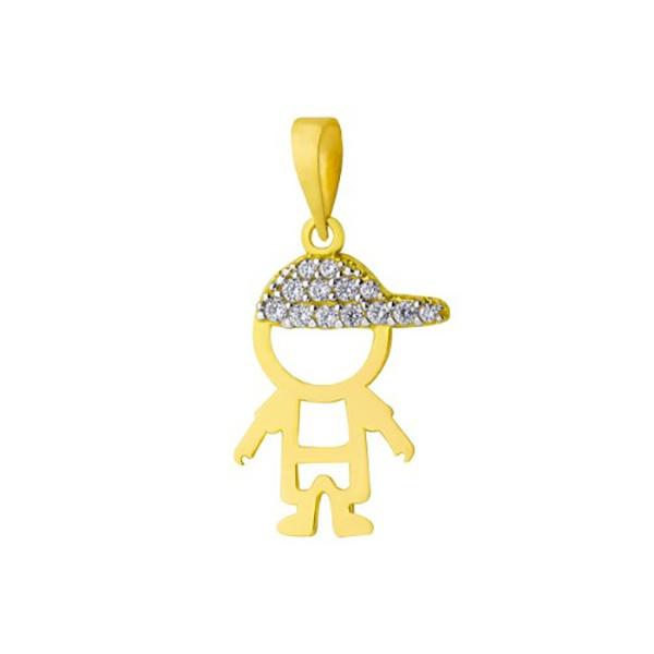 Pingente De Ouro 18k Menino Vazado Com Zircônias