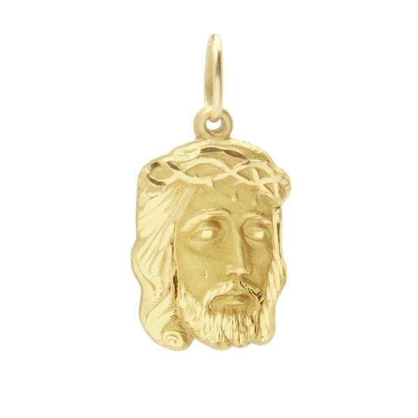 Pingente De Ouro 18k Face De Cristo De 21mm
