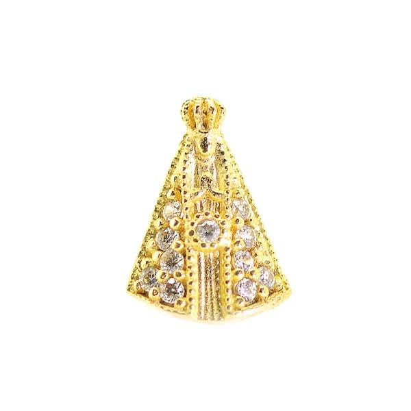 Pingente De Ouro 18k Nossa Senhora Da Aparecida Com Pedras De 9mm