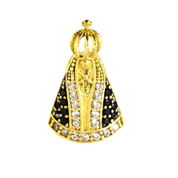 Pingente De Ouro 18k Nossa Senhora Da Aparecida Com Pedras De 16mm