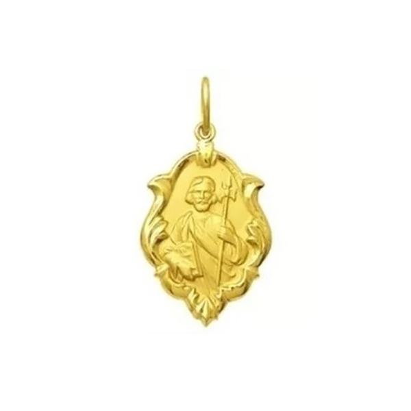 Pingente De Ouro 18k Medalha De São Judas Tadeu Com 18mm