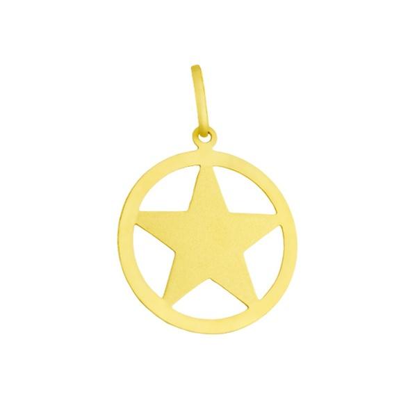 Pingente De Ouro 18k Pentagrama De 15mm