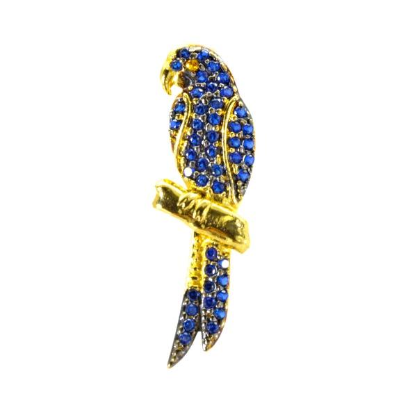 Pingente De Ouro 18k Arara Azul Com 25mm