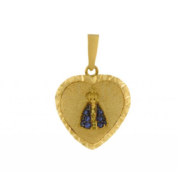 Pingente De Ouro 18k Coração Com Nossa Senhora Da Aparecida De 20mm