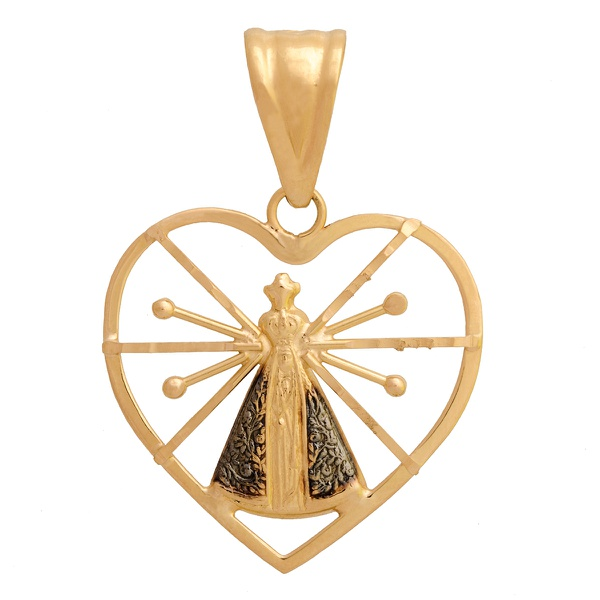 Pingente De Ouro 18k Coração Com Nossa Senhora Da Aparecida De 22mm