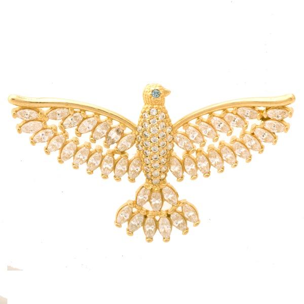 Pingente De Ouro 18k Espírito Santo Com Zircônias