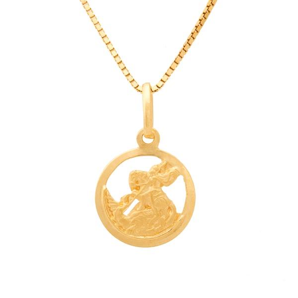 Corrente De Ouro 18k Veneziana De 40cm Com Pingente De São Jorge